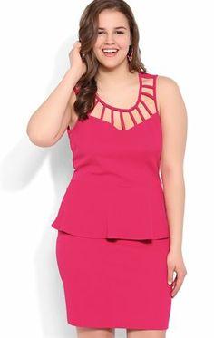 Deb Shops Plus Size Peplum Bodycon Dress with Latice Neckline $40.00