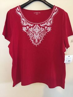 Freeshipping NWT Croft & Barrow Red Embroidered Scoop Neck Top Women's 2X…