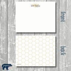 notecards flat  BEE happy by papierCHICshop on Etsy