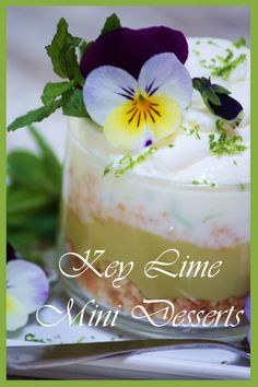 Key lime mini desserts are the perfect scrumptious dessert without a helping of guilt on the side!      These little desserts are easy to make, fun to assemble and are big on WOW factor...everybody loves individual sized treats.