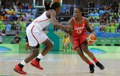 Canada forward Tamara Tatham drives on Senegal forward Mame Marie Sy during the first half of a women's basketball game at the Youth Center at the 2016 Summer Olympics in Rio de Janeiro, Brazil, Wednesday, Aug. 10, 2016. (AP Photo/Carlos Osorio)