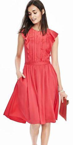 Banana Republic Pintuk Flutter-Sleeve Dress