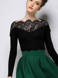 online shopping for PERSUN Women's Black Lace Panel Tight Long Sleeve T-shirt Top from top store. See new offer for PERSUN Women's Black Lace Panel Tight Long Sleeve T-shirt Top Latest Fashion For Women, Womens Fashion, Estilo Retro, Mode Inspiration, Character Inspiration, Lace Tops, Bunt, Dress To Impress, Dress Up