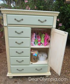 Mint and Cream Tall Boy in CeCe Caldwell's Omaha Ochre and Kentucky Mint | CeCe Caldwell Chalk and Clay Paint | Painted Furniture | Upcycle | Chest | Mint Painted Furniture | gender neutral nursery | baby girl nursery furniture