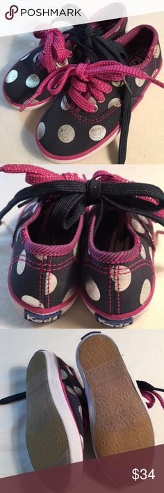 Girls KED sneakers, silver, blue, pink, size7, NEW Bought them for my niece right at the time that she started getting picky😕oh well, her loss-your gain! So adorable! Includes 2 pairs of laces, one navy & one pink with sparkle. Keds Shoes Sneakers