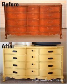yellow painted dresser