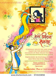 illustration of colorful Happy Holi Background for Festival of Colors celebration greetings Happy Holi Wallpaper, Holi Poster, Onam Festival, Indian Illustration, Cultural Events, Indian Festivals, Art Drawings, Royalty Free Stock Photos, Makeup Brush