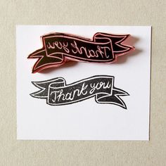 Thank you ribbon banner rubber stamp by CassaStamps on Etsy