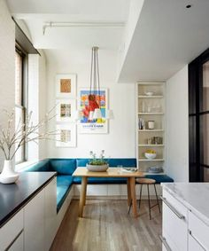 Short on entertaining areas? Borrowing a few inches along a wall to create seating with a thin dining table. Perfect for a small home or apartment. Here are 6 more Home Decorating Tips for Small Apartments, Homes, Spaces ..