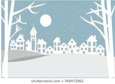 Village in a winter night