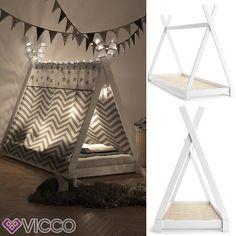 VICCO Kinder Bett TIPI Weiß Kinderhaus Indianer Zelt Holz Hausbett 90x200cm