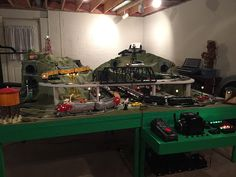 """Over on the """"Layout Building Forum"""", I posted a reply to Andrew B. who is starting to build a replica of the layout from I have built a replica of the from and I thought I'd share some photos of my layout here. Lionel Trains Layout, Train Miniature, Third Rail, Garden Railroad, Standard Gauge, Model Trains, Toy Trains, Model Train Layouts, Classic Toys"""