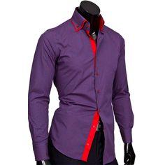 Рубашка Venturo приталенная цвет фиолетовый в листьях