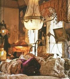 Boho bedroom love the flapper lamp in the background. ... yes please