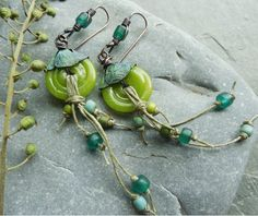 Lime Green Teal Olive Green Turquoise Glass Disc by lunedesigns, $35.00  See them here as well:  http://earrings-everyday.blogspot.com/