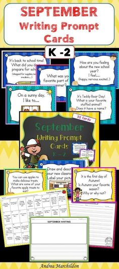 September Writing Task Cards K The New School, New School Year, Back To School, Second Grade Writing, Handwriting Activities, First Grade Activities, First Grade Classroom, Printable Worksheets, Printables