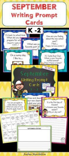 September Writing Task Cards K First Grade Activities, Back To School Activities, School Ideas, The New School, New School Year, Second Grade Writing, Handwriting Activities, Printable Worksheets, Printables