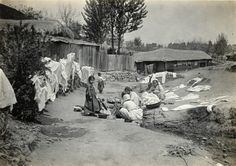 Laundry day. Japanese Colonial Period postcard art/photography.