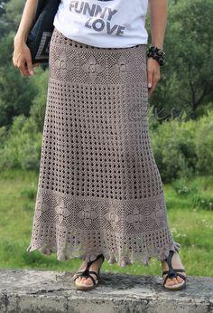 Crochet Tunic Pattern, Crochet Stitches Patterns, Crochet Lace, Crochet Bikini, Crochet Skirts, Knit Skirt, Crochet Clothes, Square Skirt, Macrame Dress