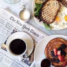 Sunday brunch with avocado toast, coffee, eggs, pancakes and the New York Times. Perfect! > www.rosefieldwatches.com