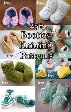Knitting patterns for baby booties, sandals, moccasins, shoes, boots -- all footwear for the well dressed baby! Quick projects to knit but so adorable they'll be passed on when the baby grows out of them.