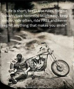 ride on forever motor bikes quotes and sayings Triumph Motorcycles, Harley Davidson Motorcycles, Harley Bikes, Custom Motorcycles, Your Smile, Make You Smile, Motos Harley, Bike Quotes, Motto Quotes