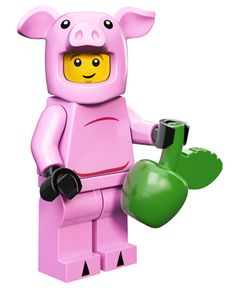 LEGO® Series 12 Minifigures: The Piggy Guy used to be a regular farmer. Then one day he noticed how much fun his hogs were having, and he decided to try it out for himself! Donning a pink pig costume, he started to spend all of his time oinking, eating apples, and wallowing in the mud – and he found out that he really liked it.
