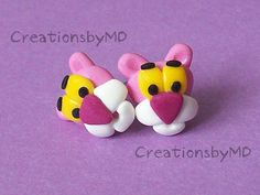 pink panther stud earrings polymer clay fimo by CreationsbyMD