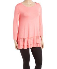 Another great find on #zulily! Coral Ruffle-Hem Tunic - Plus #zulilyfinds