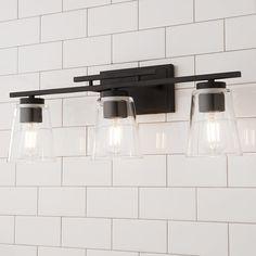 Black Bathroom Light Fixtures, Bathroom Lights Over Mirror, Black Vanity Bathroom, Vanity Light Fixtures, Bathroom Vanity Lighting, Bathroom Fixtures, Bathrooms, Light Bathroom, Master Bathroom
