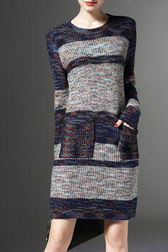 JOY&JOSO Twin Pocket Hit Color Sweater Dress