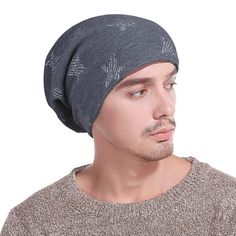 Winter Men  Fleece Cap Slouchy Skullies  Beanies Cotton Hat  Fashion  Male  Star 1550839deee1