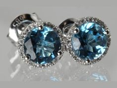 Colored Stone Earrings - 14KW .08CTW DIAMOND AND BLUE TOPAZ STUD EARRINGS