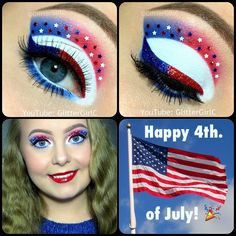 Of July Eye Makeup Of July Makeup Look Glittergirlc Bubble, 4th Of July Makeup, Lunch Boxe, Fourth Of July Food, July Baby, Xmas Lights, Xmas Wreaths, 4th Of July Decorations, 4th Of July Outfits