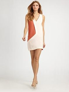 Cacharel sleeveless silk color block dress available from Saks Fifth Avenue.