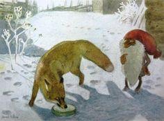 "Harald Wiberg book illustration for ""The Tomten & the Fox"" by Astrid Lindgren. Christmas Scenes, Christmas Art, Critter Sitters, Winter Illustration, Forest Creatures, Scandinavian Art, Fox Art, Gnomes, Childrens Books"