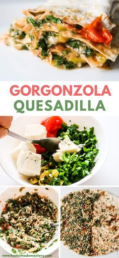 Super tasty vegetarian quesadilla recipe with gorgonzola and fresh vegetables. You can make this easy Mediterranean recipe for dinner or lunch in about 15 minutes! Have the gorgonzola quesadilla with Vegetarian Recipes Dinner, Veggie Recipes, Beef Recipes, Salad Recipes, Dinner Recipes, Vegetarian Quesadilla, Quesadilla Recipes, Easy Mediterranean Recipes, Spaghetti Recipes