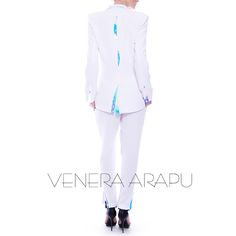 Two-piece white suit from our spring/summer 2015 collection                                             all-white, suit, style, fashion, shopping, Venera Arapu White Suits, All White, Spring Summer 2015, Style Fashion, Elegant, Blouse, Shopping, Collection, Black