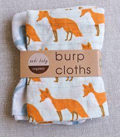 Whale/ Fox Burp Cloths