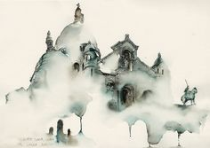 """cjwho: """" Architectural Watercolors by Sunga Park Famous places in Aquarelle painting is a project by Korean artist and illustrator Sunga Park. Sunga currently lives and works in Busan, South Korea. Watercolor City, Watercolor And Ink, Watercolor Paintings, Painting & Drawing, Watercolors, Watercolor Architecture, Sacred Architecture, Architecture Drawings, Art Aquarelle"""