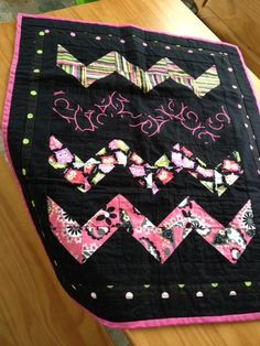 Girl Zig Zag mini quiltsecurity blanketpink by Tiff2anydesigns, $28.00