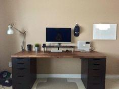 21 Best DIY Computer Desk Ideas for Home Office Inspiration Computer Desk Organization, Diy Office Desk, Computer Desk Setup, Pc Desk, Home Office Setup, Home Office Desks, Home Office Furniture, Pallet Furniture, Computer Desk In Bedroom