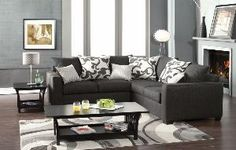 Cranbrook contemporary style medium gray fabric Sectional sofa with square arms and throw pillows Made in the USA from AMBShopping at SHOP.COM
