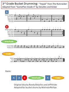 Trepak or Russian Dance by Tchaikovsky: Bucket Drumming FREEBIE for your Elementary Kodaly or Orff Music Classroom