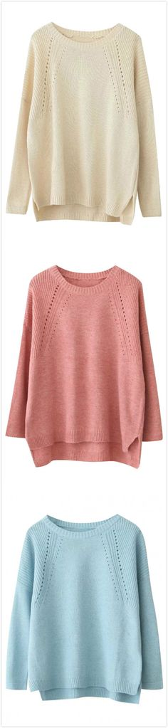 Azbro's Sweet Long Sleeve High Low Knitted Sweater,is this your choice for autumn outfits?Only for $18.66,more surprise @azbro.com