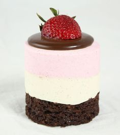 Neapolitan Mousse Cake garnished with Dark Chocolate Ganache and fresh strawberry.