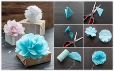 """""""How To Make Tissue Paper Flowers For Gift Wrapping These tissue paper flowers look great. They are nice as home decoration or as topper for gift wrapping, perfect for the gift season. Making these tissue paper flowers are easy and fun. What you will..."""