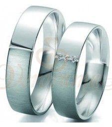 Βέρες γάμου δίχρωμες με διαμάντι Breuning 6107-6108
