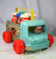Vintage Fisher Price Milk Wagon Wooden Pull Toy 1965 Complete