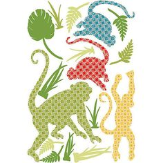 Antoinne the Monkey wall art set is actually several monkeys in different poses, all decked out in colourful tribal motifs. This jungle wall decal kit by WallPops is so much fun and comes complete with leaves and foliage to set the scene. Antoinne the Monkey comes on a 66cm x 99cm sheet with lots of other pieces to help you make your own fun safari adventure. Antoinne the Monkey is repositionable and totally removable.